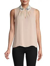 Rebecca Taylor - Embroidered Bird Collar Silk Blouse at Saks Off 5th