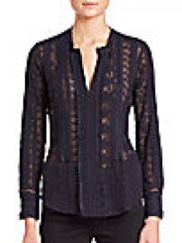 Rebecca Taylor - Embroidered Silk Chiffon Top at Saks Off 5th