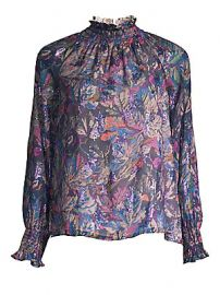 Rebecca Taylor - Floral High-Neck Blouse at Saks Fifth Avenue