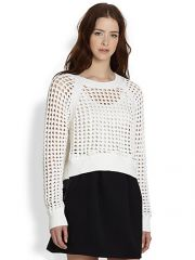 Rebecca Taylor - Knit Openwork Pullover Sweater at Saks Fifth Avenue