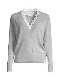 Rebecca Taylor - Merino Wool Lace-Trim Sweater at Saks Fifth Avenue