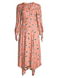 Rebecca Taylor - Paintbrush Stretch-Silk Midi Dress at Saks Fifth Avenue