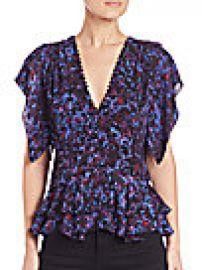 Rebecca Taylor - Printed Silk Peplum Blouse at Saks Off 5th