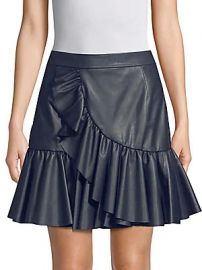 Rebecca Taylor - Ruffle Faux Leather Mini Skirt at Saks Off 5th