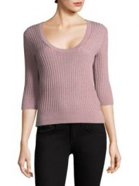 Rebecca Taylor - Scoopneck Fitted Metallic Ribbed Top at Saks Fifth Avenue