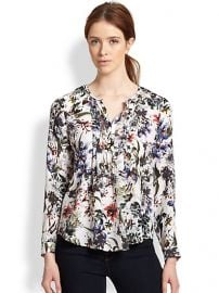 Rebecca Taylor - Silk Print Pintucked Blouse at Saks Fifth Avenue
