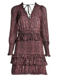 Rebecca Taylor - Smocked Snake Print Mini Dress at Saks Fifth Avenue