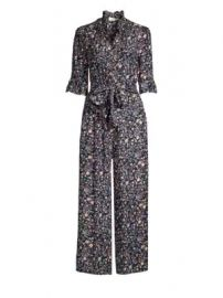 Rebecca Taylor - Vivanna Floral Tie-Waist Ruffled Silk Jumpsuit at Saks Fifth Avenue
