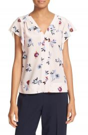 Rebecca Taylor  Bellflower  Flutter Sleeve Floral Silk Top at Nordstrom