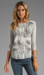 Rebecca Taylor Animal Printed Long Sleeve Tee in Steel Combo  REVOLVE at Revolve