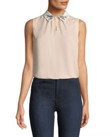 Rebecca Taylor Bird-Embellished Collar Sleeveless Silk Top at Neiman Marcus