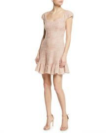 Rebecca Taylor Cap-Sleeve Tweed Flounce Dress at Neiman Marcus