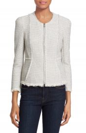 Rebecca Taylor Collarless Stretch Tweed Jacket at Nordstrom