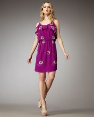 Rebecca Taylor Daisy-Print Silk Dress at Neiman Marcus