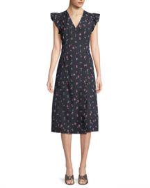 Rebecca Taylor Farren Floral-Print Faux-Wrap Midi Dress at Neiman Marcus