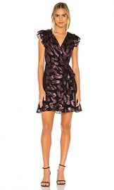 Rebecca Taylor Faux Wrap Sleeveless Lurex Jacquard Dress in Black from Revolve com at Revolve