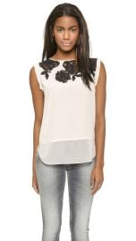 Rebecca Taylor Floral Lace Applique Top at Shopbop