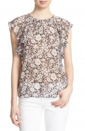 Rebecca Taylor Floral Print Ruffle Sleeve Silk Top at Nordstrom