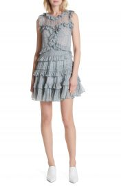 Rebecca Taylor Floral Vine Ruffle Silk Dress at Nordstrom