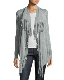 Rebecca Taylor Fringe-Trim Open-Front Cardigan  Gray at Last Call