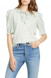 Rebecca Taylor Ikat Leaf Ruffle Top   Nordstrom at Nordstrom
