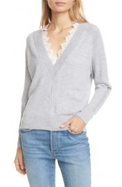 Rebecca Taylor Lace Detail V-Neck Merino Wool Sweater at Nordstrom