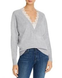 Rebecca Taylor Lace-Trimmed Merino Wool Sweater Women - Bloomingdale s at Bloomingdales