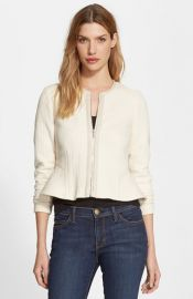 Rebecca Taylor Leather Trim Peplum Jersey Jacket at Nordstrom