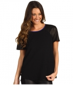 Rebecca Taylor Leather sleeve tee at 6pm