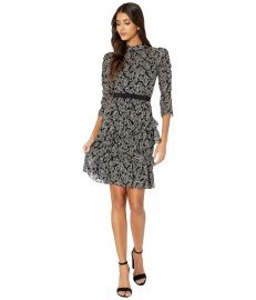 Rebecca Taylor Long Sleeve Celia Lace Dress at Zappos