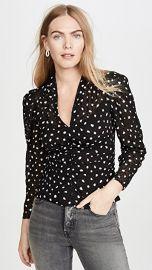 Rebecca Taylor Long Sleeve Dot V Neck Top at Shopbop