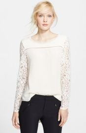 Rebecca Taylor Long Sleeve Lace Mix Top at Nordstrom