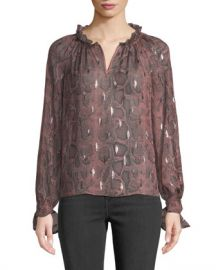 Rebecca Taylor Long-Sleeve Metallic Snake-Print Blouse at Neiman Marcus