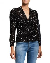 Rebecca Taylor Long-Sleeve Spotted V-Neck Top at Neiman Marcus
