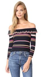 Rebecca Taylor Long Sleeve Striped Rib Pullover at Shopbop