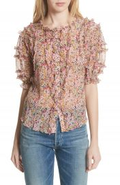 Rebecca Taylor Margo Ruffle Floral Top at Nordstrom