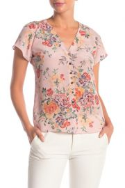 Rebecca Taylor Marlena Floral Short Sleeve Blouse at Nordstrom Rack