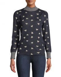 Rebecca Taylor Mock-Neck Heart-Jacquard Pullover Sweater w  Striped Neck  amp  Cuffs at Neiman Marcus