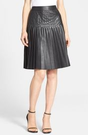 Rebecca Taylor Pleated Faux Leather Skirt at Nordstrom