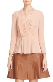Rebecca Taylor Pleated Georgette Faux Wrap Blouse at Nordstrom