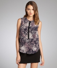 Rebecca Taylor Purple Feather Print Blouse at Bluefly