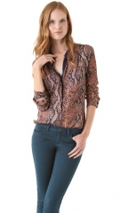 Rebecca Taylor Python Henley Top at Shopbop