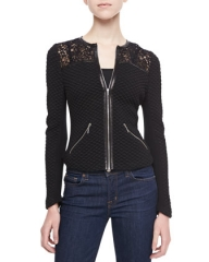 Rebecca Taylor Quilted Lace Panel Jacket at Bergdorf Goodman