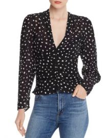 Rebecca Taylor Ruched Dot Silk-Blend Top Women - Bloomingdale s at Bloomingdales