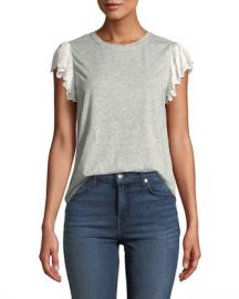Rebecca Taylor Samira Lace Flutter-Sleeve Crewneck Tee at Neiman Marcus