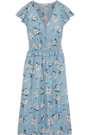 Rebecca Taylor Shirred floral-print silk-blend jacquard midi dress at The Outnet