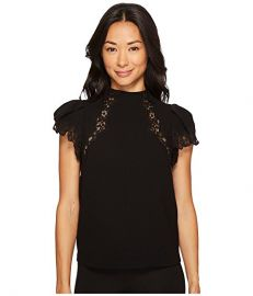 Rebecca Taylor Short Sleeve Crepe Lace Top at Zappos