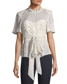 Rebecca Taylor Short-Sleeve Tie-Waist Star-Print Blouse   Neiman at Neiman Marcus
