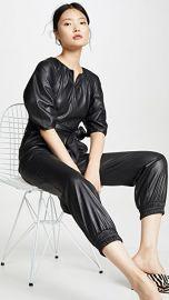 Rebecca Taylor Short Sleeve Vegan Leather Jumpsuit at Shopbop