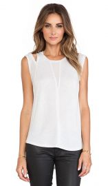 Rebecca Taylor Shoulder Cut Out Tank in Ice Grey  REVOLVE at Revolve